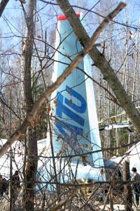 Обломки Ту-204, разбившегося в Домодедово